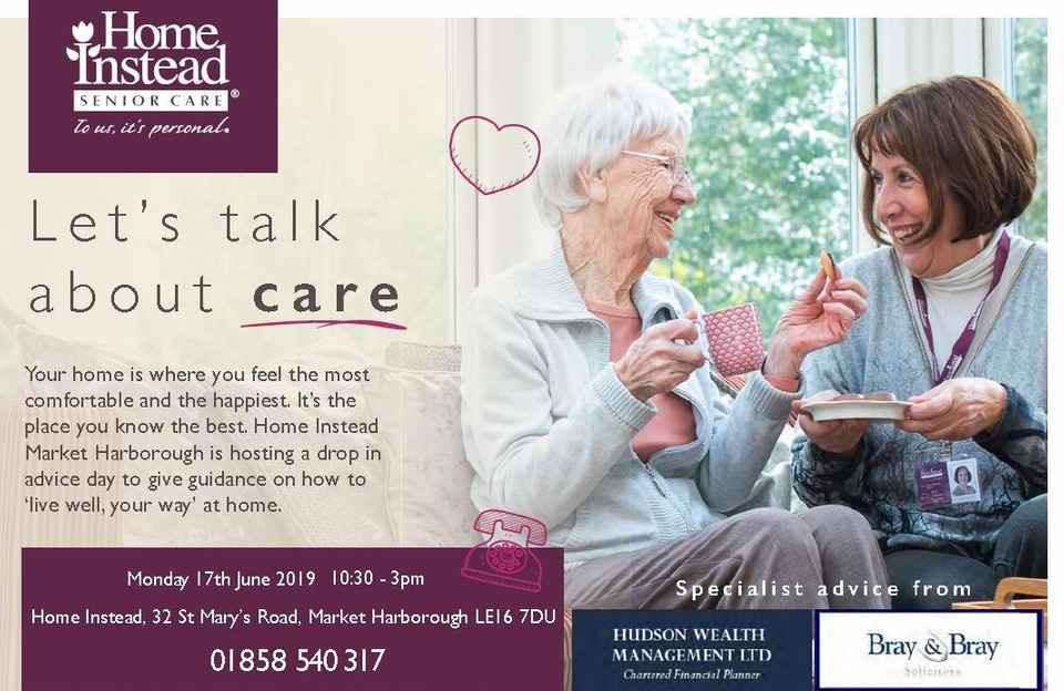 Drop in advice day Home Instead St Mary's Road Market Harborough  - let's talk about care
