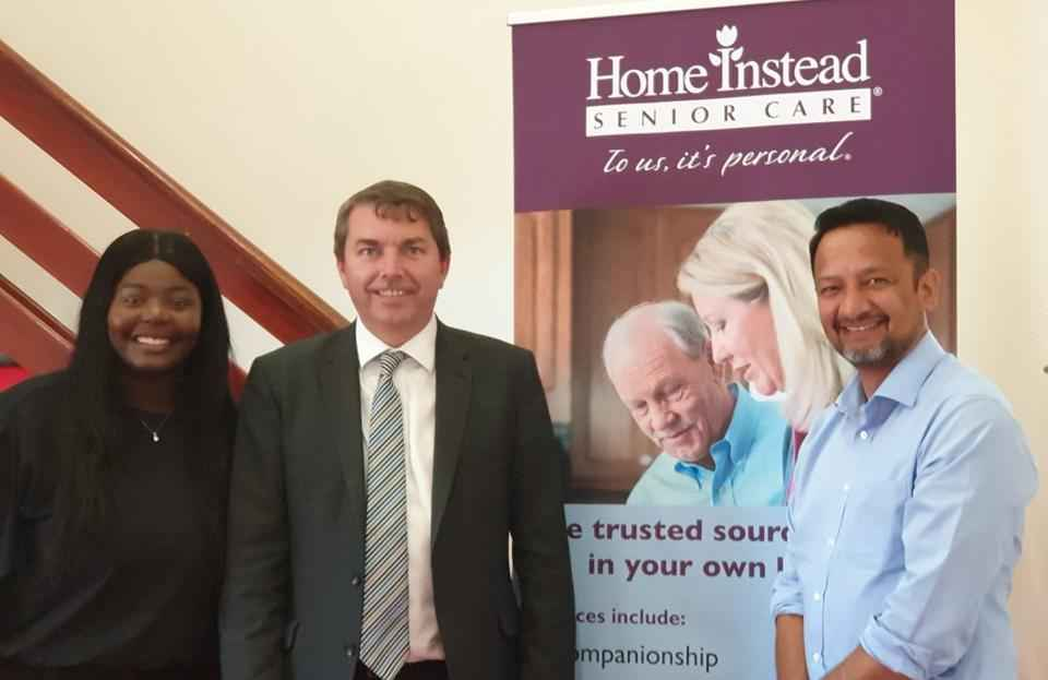 Image of HISC Dartford owner Ram Chandra Thapa and Care Manager Kadiatu Kamara along with Gareth JohnsonMP