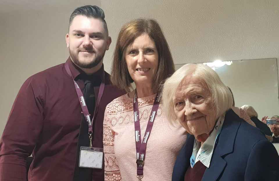 Care Manager David and CAREGiver Dawn celebrate Client Hazel's 100th Birthday