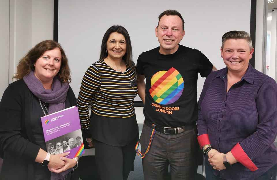 L-R: Sara Grist (Head of Care, Home Instead Tunbridge Wells), Symone Salwan (Founder & Director – Home Instead Tunbridge Wells), Jim Glennon, (Trainer - Opening Doors London) Liz Pryke (Deputy Care Manager – Home Instead Bromley)