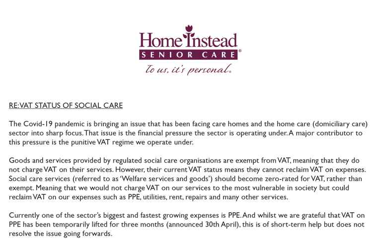 Open letter campaigning for VAT status of social care