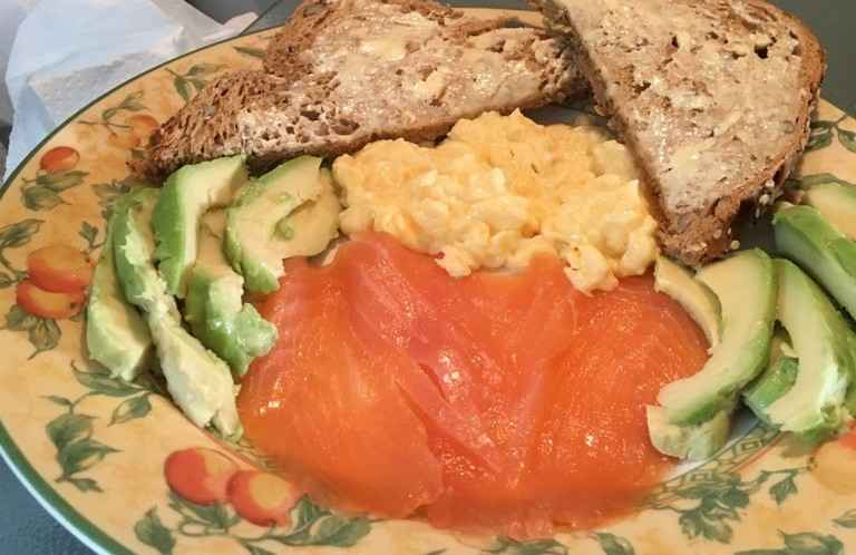 Smoked salmon, scrambled egg and avocado