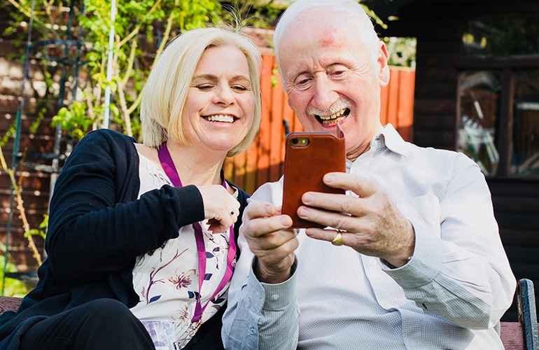 A Client and CAREGiver using a health app