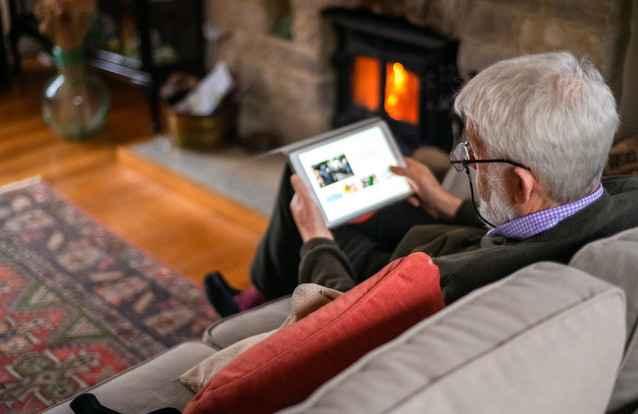 Gentleman using tablet