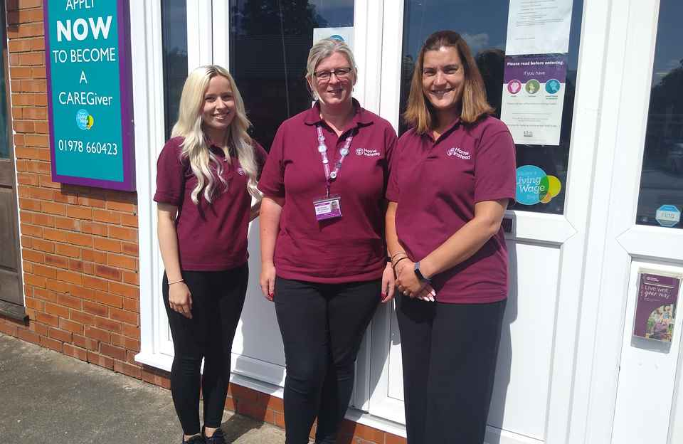 Cassie, Sarah & Myfanwy outside the Gresford office
